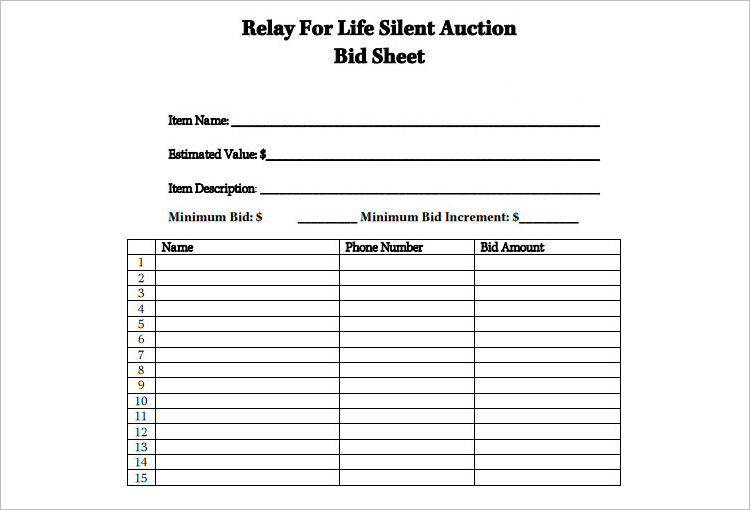 silent auction bid sheets editable template