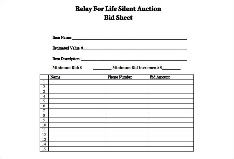 12 silent auction bid sheet templates free word excel pdf formats