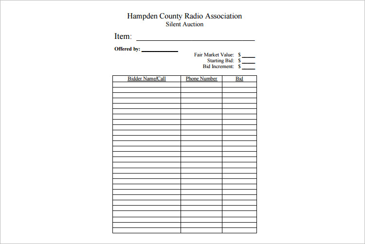 Silent auction forms free for Free auction template generator