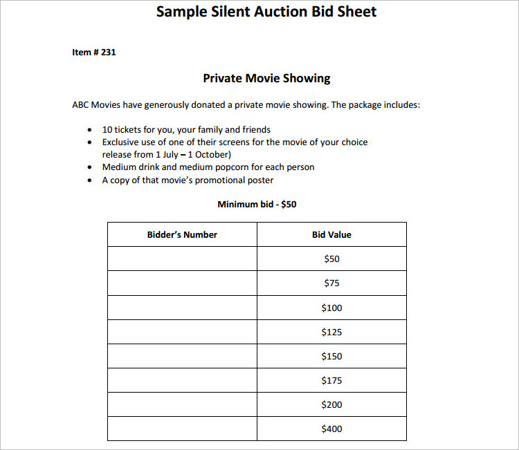 Silent Auction Bid Sheets Template Formats