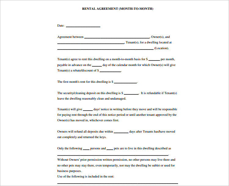 Free Rental Agreement Templates Doc Sample Formats - Simple agreement template