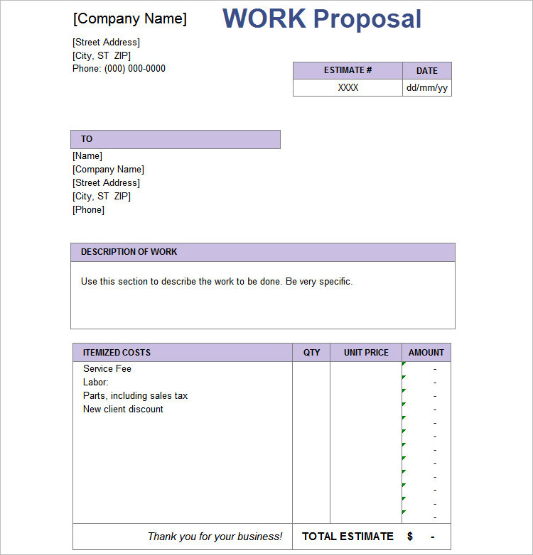 Estimate Proposal Template Job Estimate Templates And Work Quotes