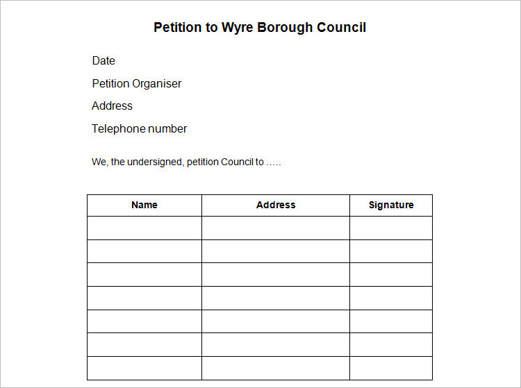 Simple Petition Template Doc