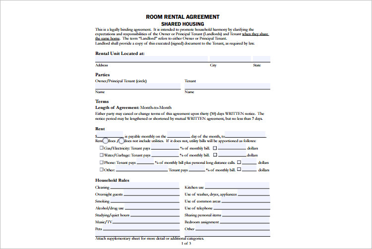 Room Rental Agreement Template Free Word Form Documents – Rent a Room Contract