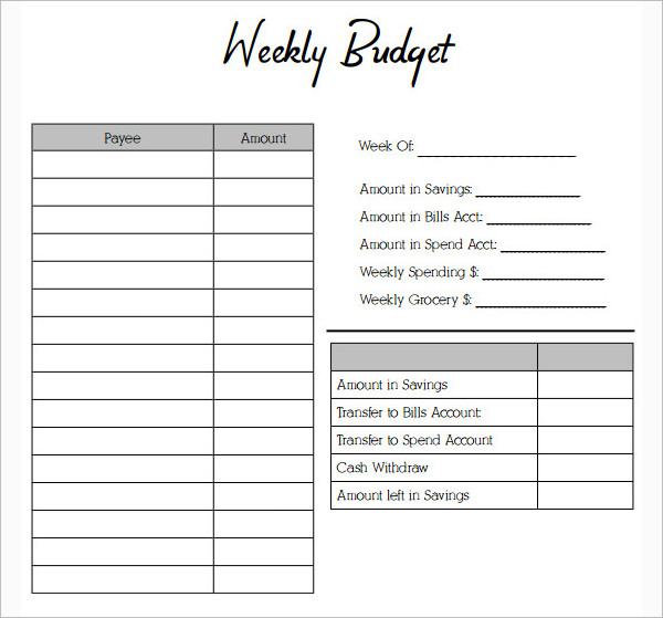 Simple Weekly budget template Form