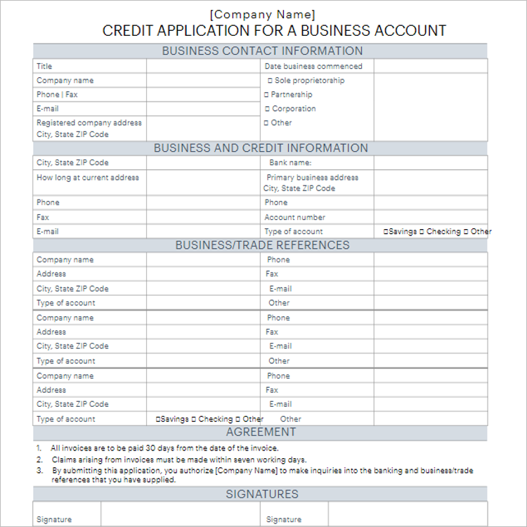 Standard Credit Application Form Template