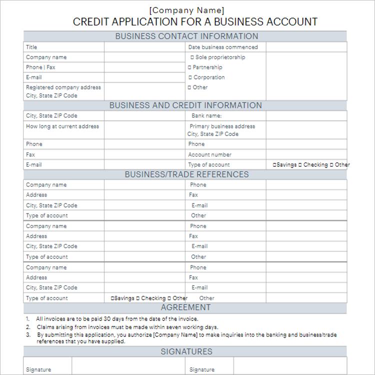 Standard Credit Application Form Template