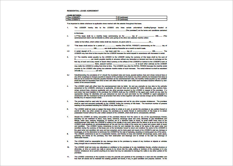 Standared Lease Agreement Template