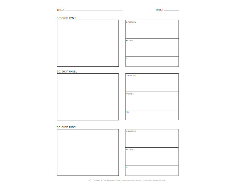 Story Board Template Excel PDF