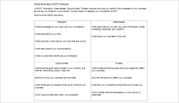 Swot Analysis Template Free Word Pdf Excel Doc Formats