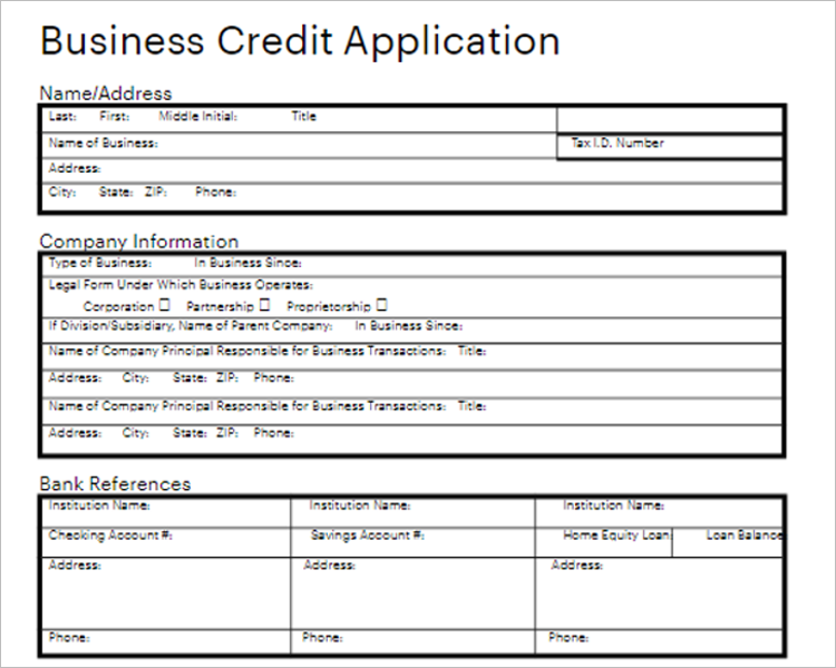 Tax Credit Application Form