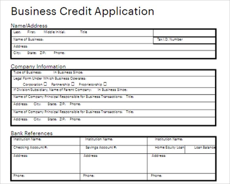 Tax Credit Application Form