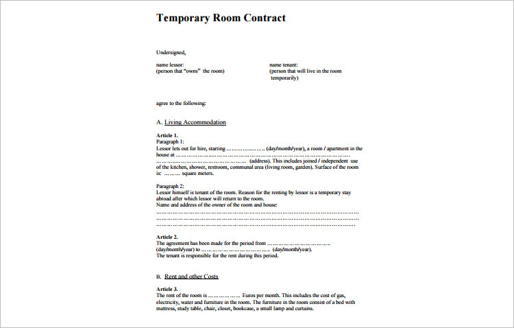 Temporary Room Rental agreement template
