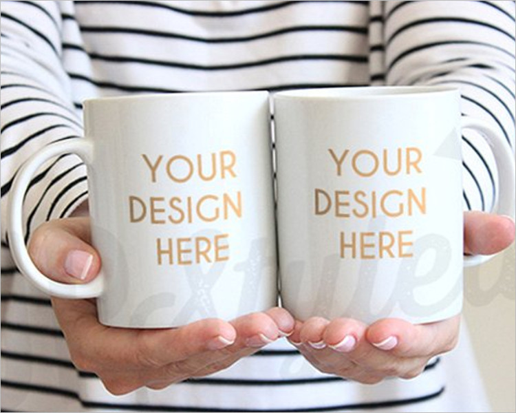 Two White Coffee Mug Mock-up