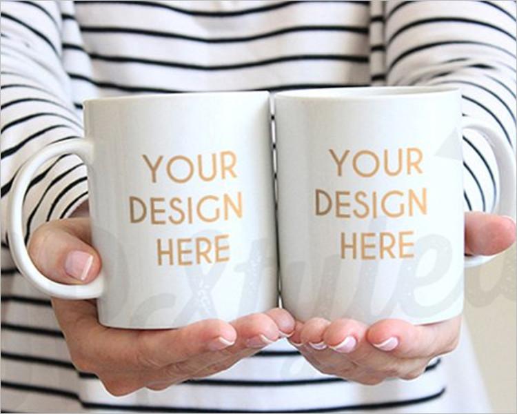 Two White Coffee Mug Mock-up