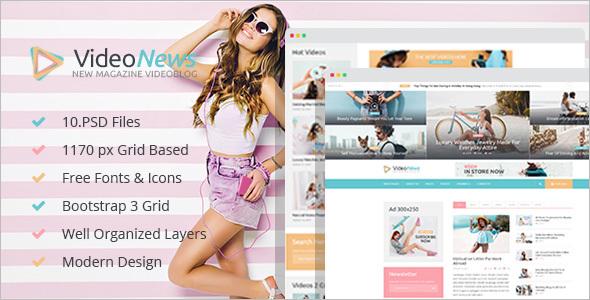 Video blog PSD WordPress Theme