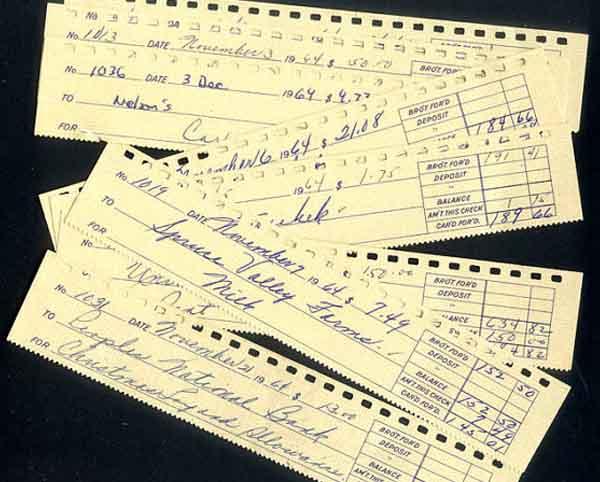 Vintage Cheque Stubs