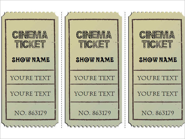 Vintage Movie Ticket Template Word ...  Movie Ticket Templates For Word