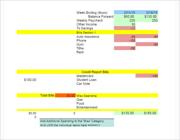 Weekly Budget Template Excel Word
