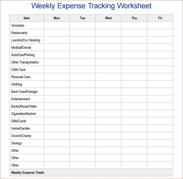 Weekly Expense Tracking Worksheet Template