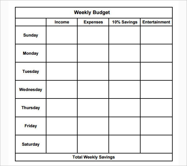 Weekly Income Budget Template PDF