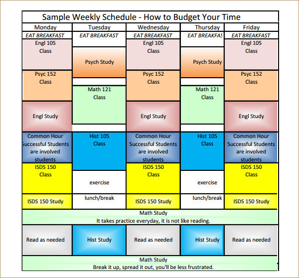 Weekly Time Budget PDF Template
