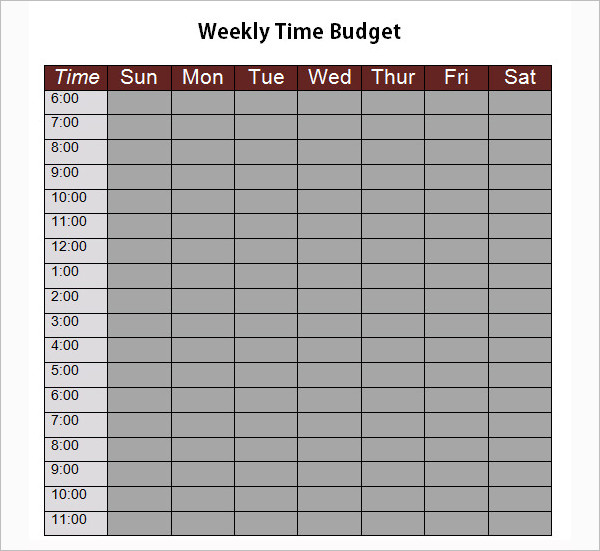 Weekly Time Budget Template Word