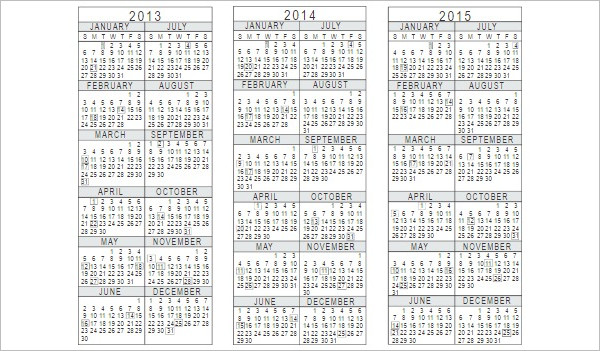 Yearly Calendar Template Word Excel