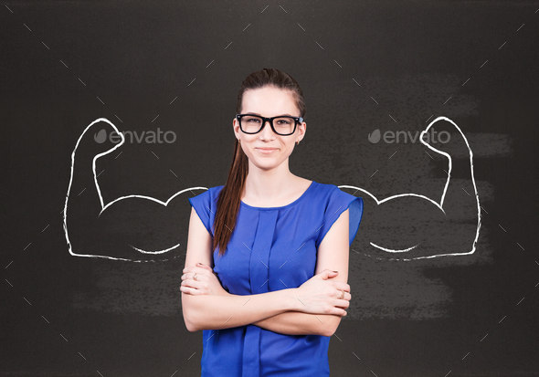 Young business woman with drawn powerful hands behind