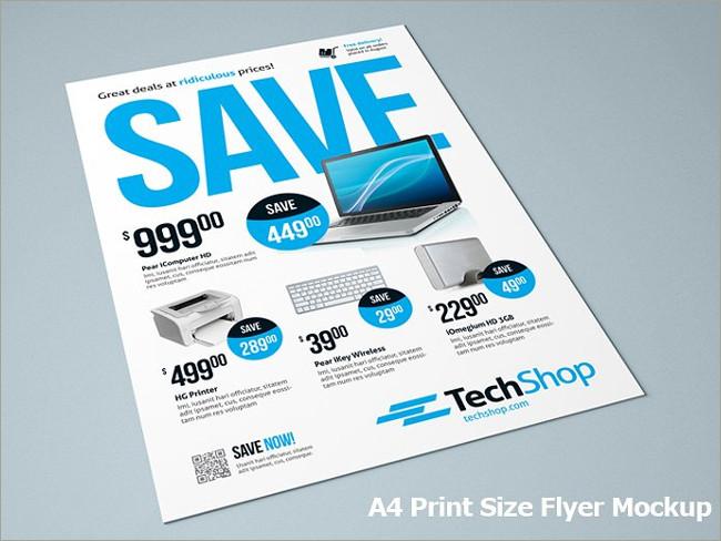 a4 print size flyer mockup