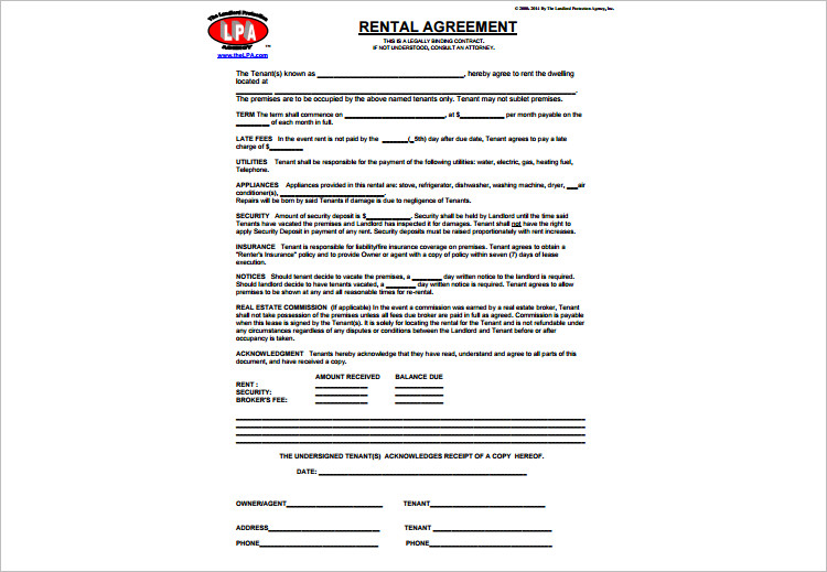basic Lease Agreemengt template Form