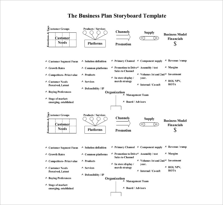 business Story Board Template Form