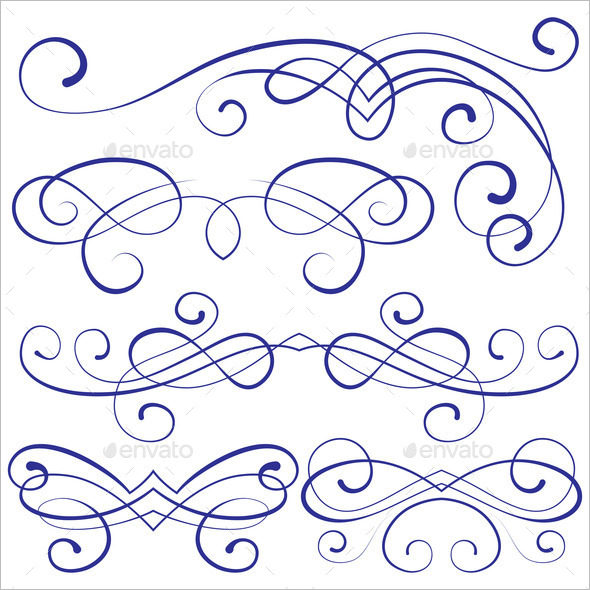 calligraphic design elements and page decoration set image