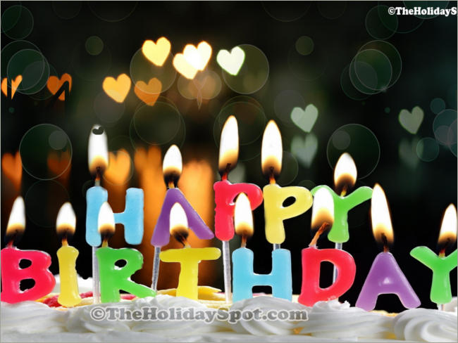 candles on happy birth day letters