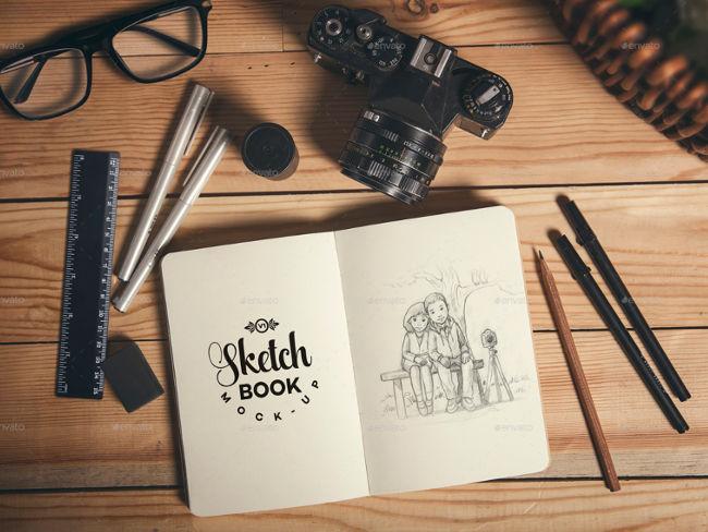 clasic sketch book mockup