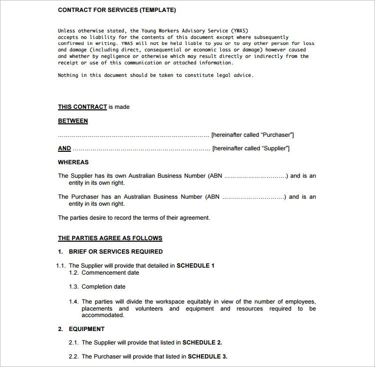 Contract Template Free Word PDF Documents Download – Cleaning Contract Template