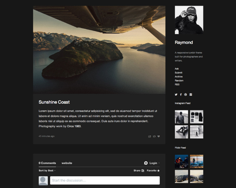 dark blog tumblr theme