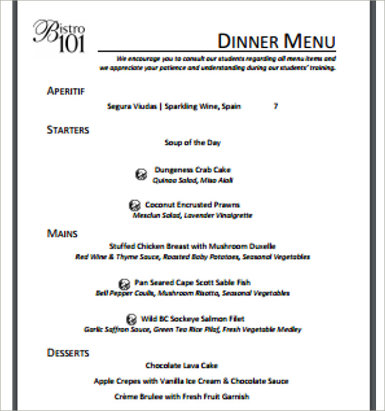 Free Dinner Menu Template  CityEsporaCo