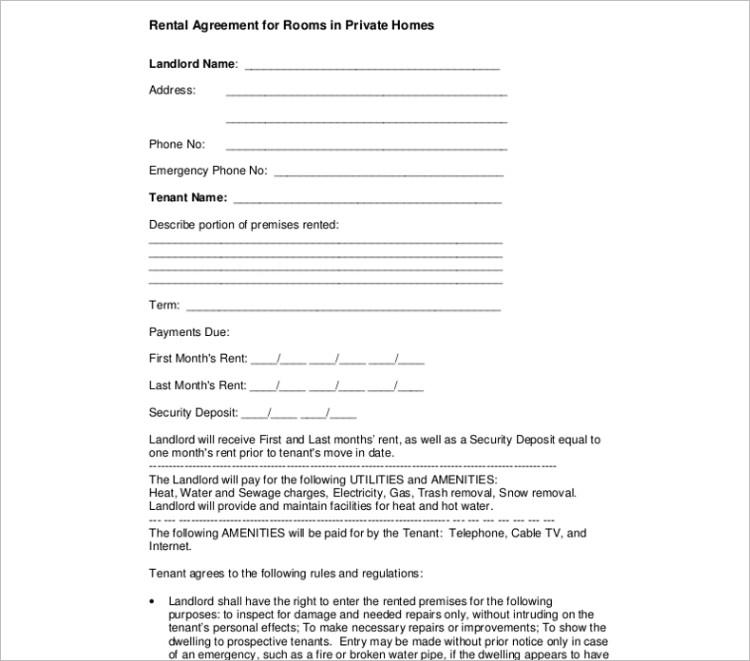 editable Room rental agreement template