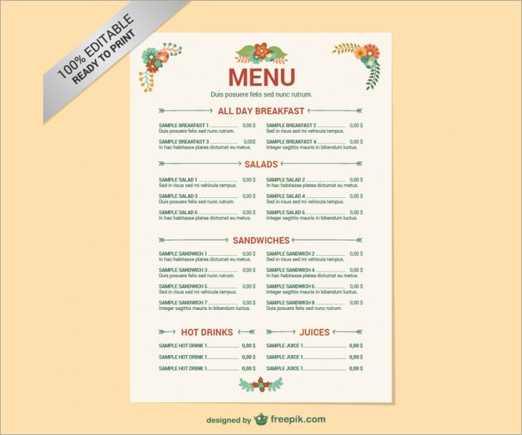 editable restaurent menu template