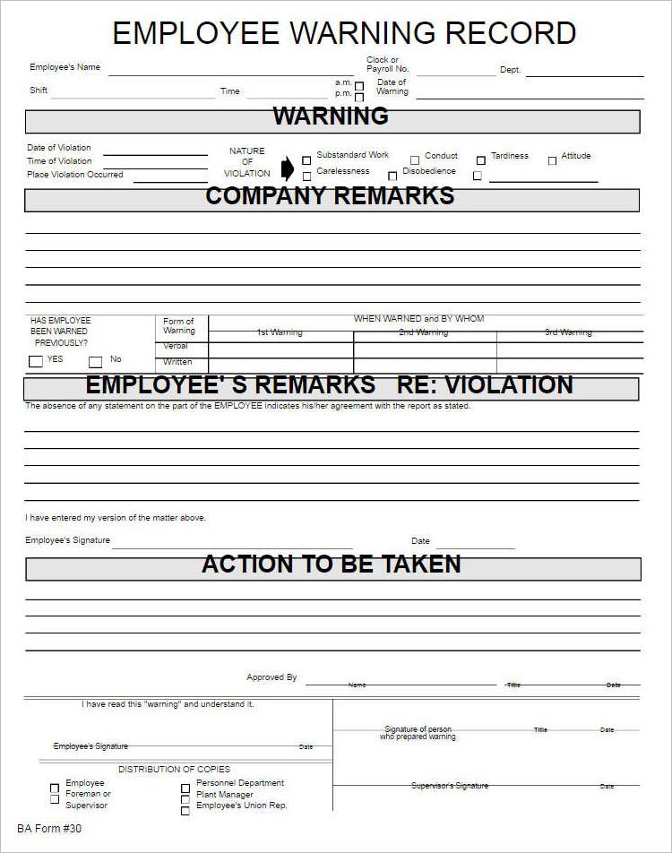 employee warning