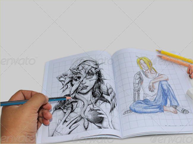 hand drawing sketch book mockup