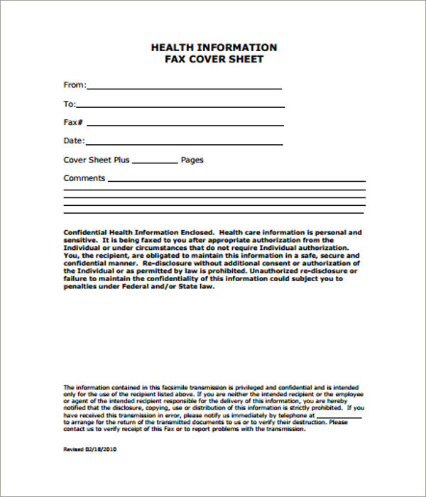 health information cover sheet