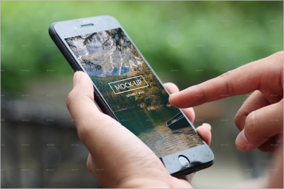 iPhone In Hand Mockup Template