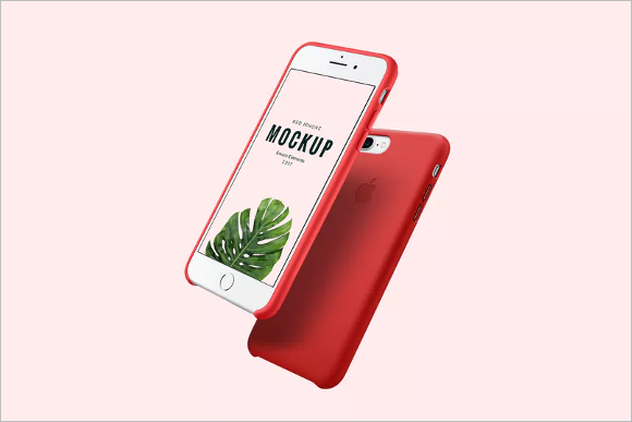 iPhone Red Mockup Design