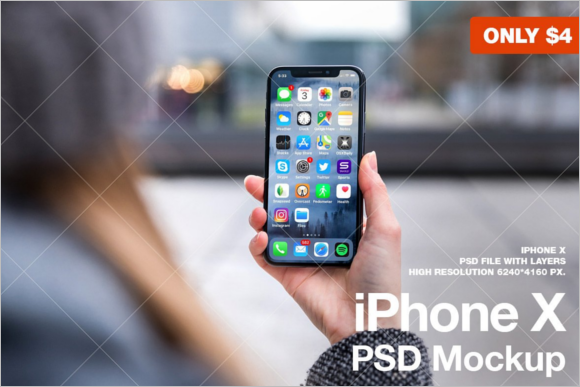 iPhone X PSD Mockup Design