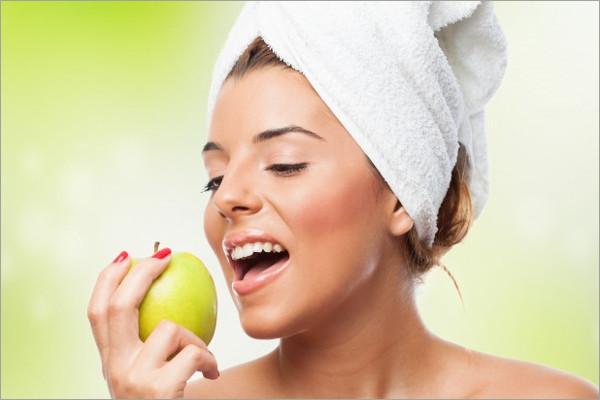 let woman eat apple