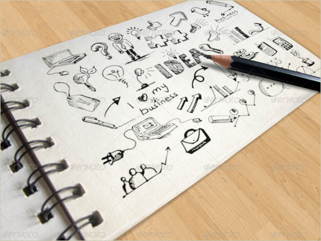 logos on sketch book