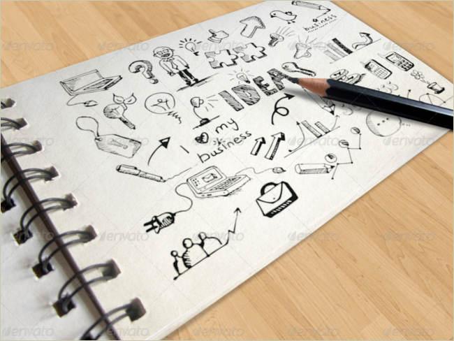 logos on sketch book