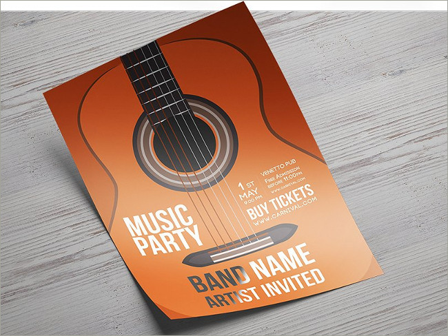 music party a4 flyer templates